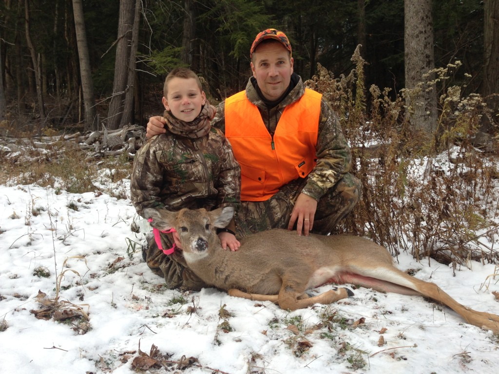 Sebastian and Anthony made a great 30 yard stalk up behind a big rock. Anthony used the rock as a shooting platform and made a perfect broadside heart shot to fill his antlerless permit.